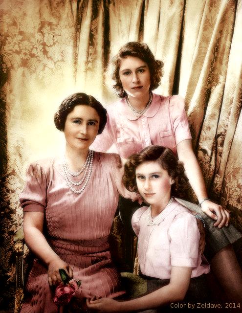Elizabeth Bowes Lyon, princesse Elizabeth, princesse Margaret