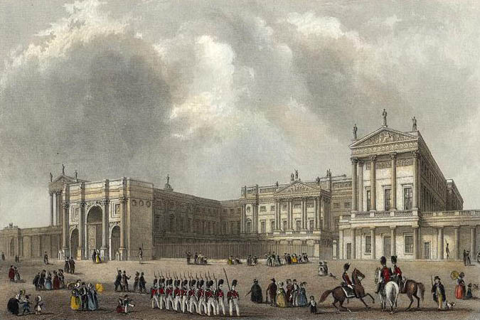 Buckingham palace engraved by j woods after hablot browne r garland publ 1837 edited