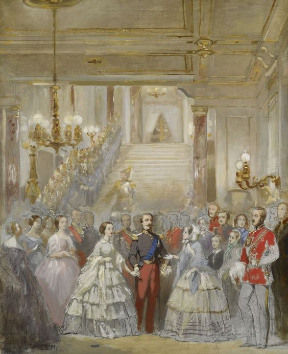 The official reception of queen victoria by napoleon iii at the chateau de st cloud 1855