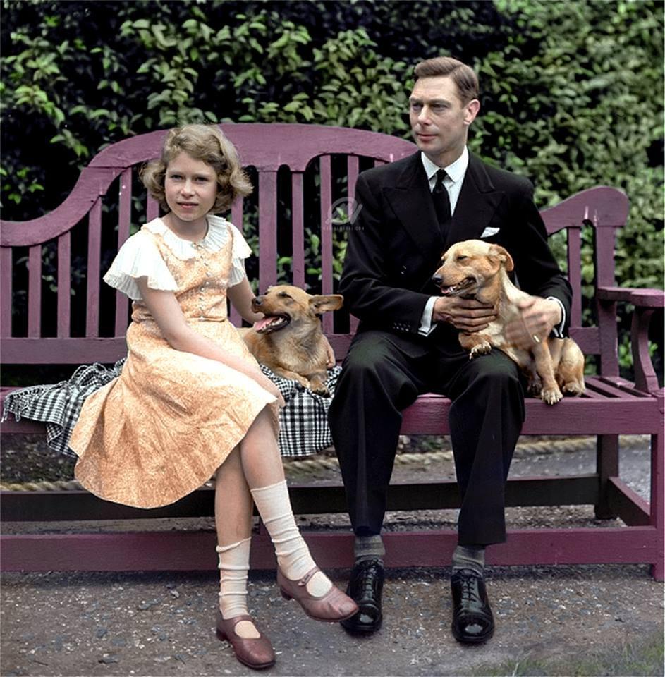 George VI et la princesse Elizabeth