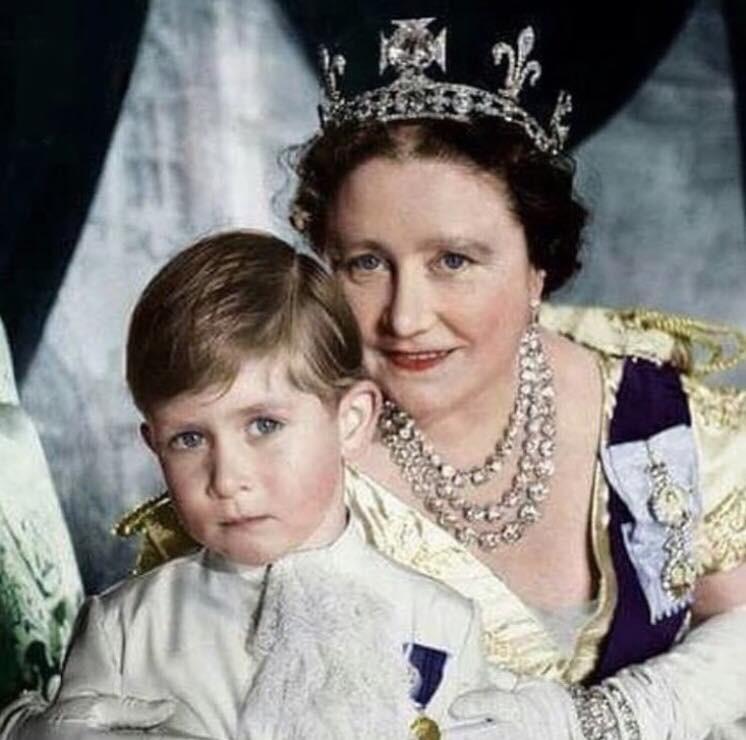 Queen Mum et le prince Charles
