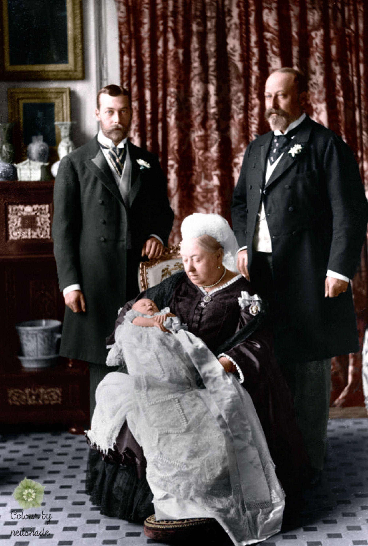 La reine Victoria, le prince de Galles Edward, le duc d'York George et le prince Edward