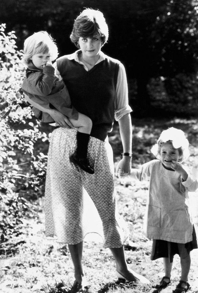 Princess diana with two kids at young england kindergarten school